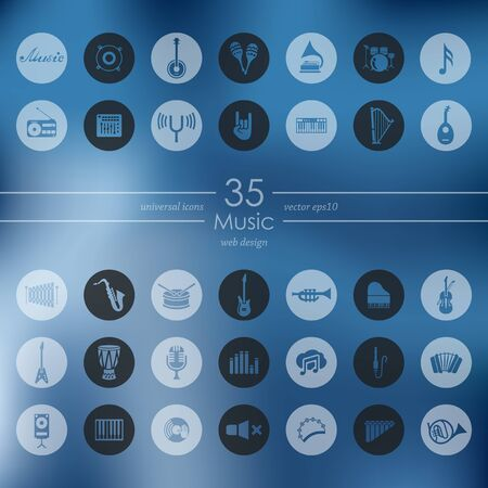 workmanship: music modern icons for mobile interface on blurred background Illustration