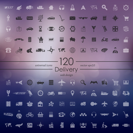 security lights: delivery modern icons for mobile interface on blurred background Illustration