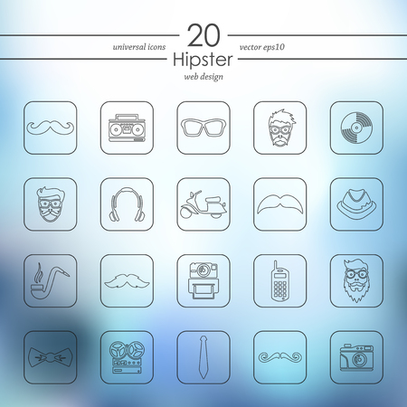 slang: hipster modern icons for mobile interface on blurred background