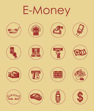 solvency: It is a set of e-money simple web icons Illustration