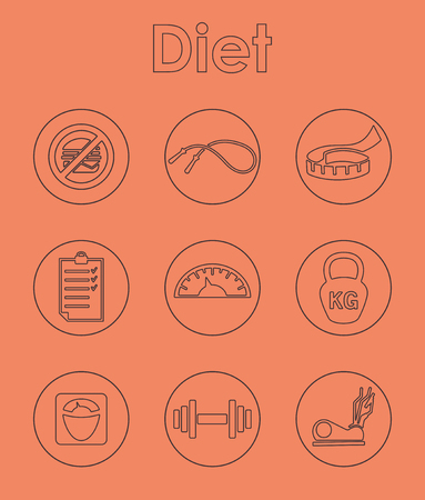 excess: It is a set of diet simple web icons Illustration