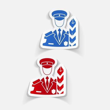 cordon: realistic design element. customs inspector