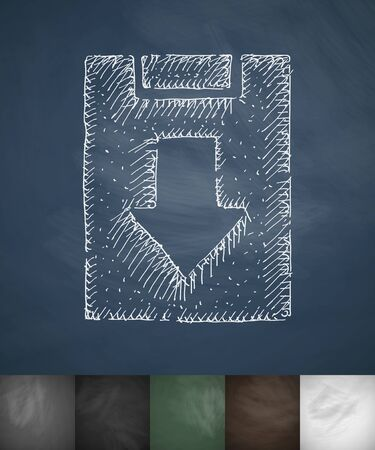 returned: assignment returned icon. Hand drawn vector illustration. Chalkboard Design