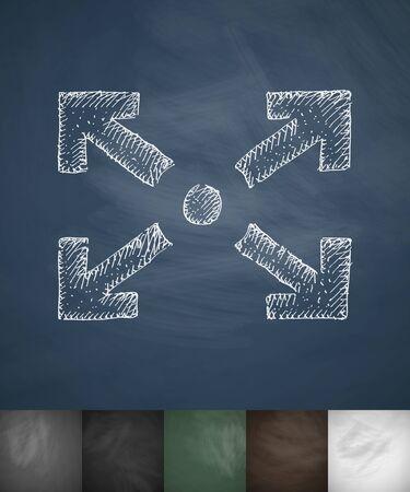 full screen: full screen icon. Hand drawn vector illustration. Chalkboard Design