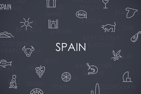 set symbols: Thin Stroke Line Icons of Spain on White Background Illustration