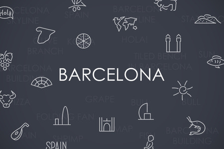 port of spain: Thin Stroke Line Icons of Barcelona on White Background