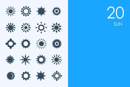 radiacion solar: AZUL HAMSTER Biblioteca sol conjunto de vectores de iconos simples modernos