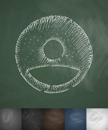 avatar box icon. Hand drawn vector illustration. Chalkboard Design
