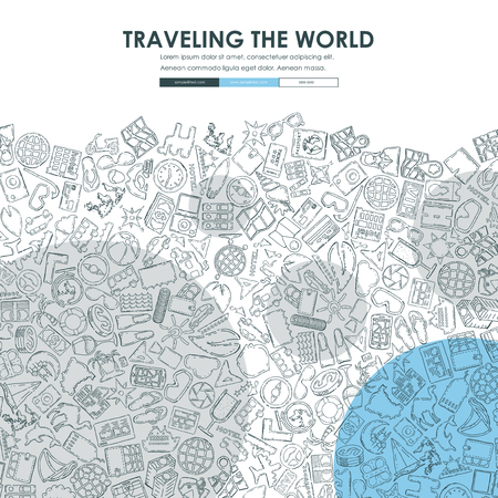 drawing paper: tourism Website Template Design with Doodle Background Illustration