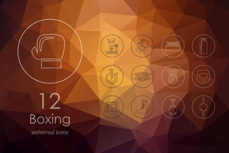 spotlit: boxing modern icons for mobile interface on blurred background