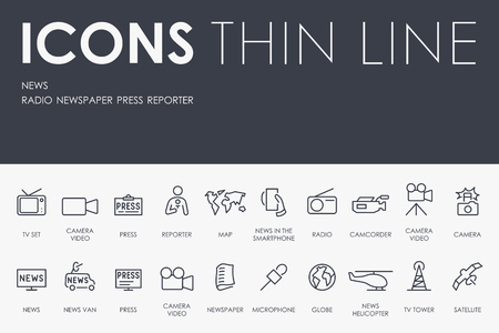 tv tower: Thin Stroke Line Icons of News on White Background Illustration