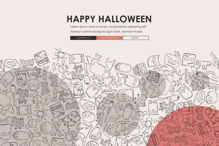 halloween website template design with doodle background royalty