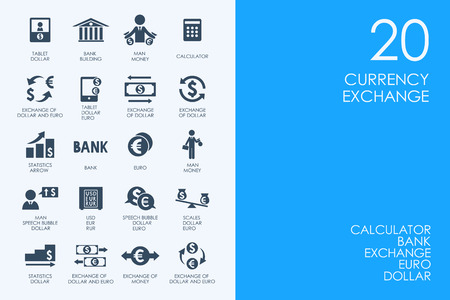 currency exchange: BLUE HAMSTER Library currency exchange vector set of modern simple icons