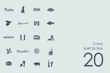 port of spain: Barcelona vector set of modern simple icons