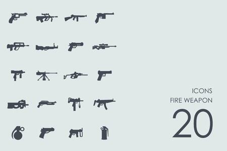 automatic rifle: fire weapon vector set of modern simple icons