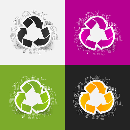 recycle sign: drawing business formulas. recycle sign