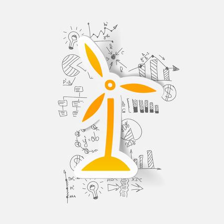 wind turbines: drawing business formulas. wind turbines