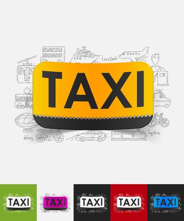 dibujado a mano elementos simples con etiqueta de papel en taxi sombra