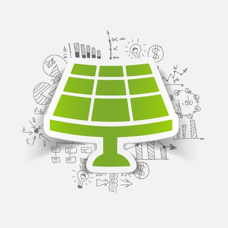 drawing business formulas. solar battery Illustration