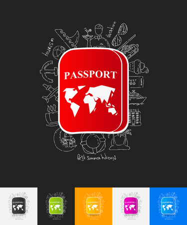 customs official: hand drawn simple elements with passport paper sticker shadow Illustration