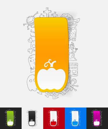 haulm: hand drawn simple elements with pumpkin paper sticker shadow Illustration