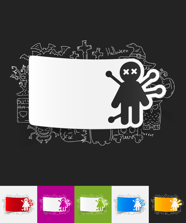 voodoo: hand drawn simple elements with voodoo Doll paper sticker shadow