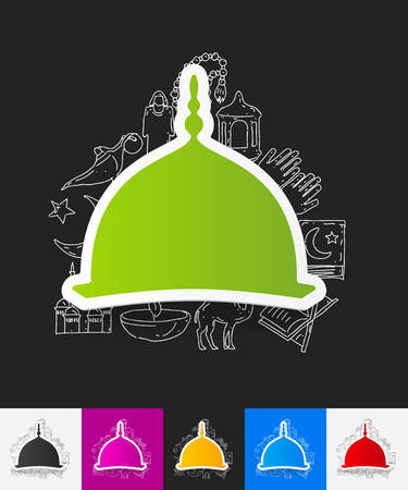 minaret: hand drawn simple elements with mosque paper sticker shadow