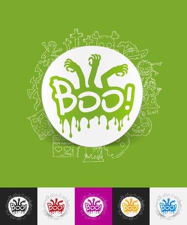 boo: hand drawn simple elements with boo paper sticker shadow Illustration