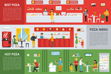 visitors: Best and Hot Pizza Menu flat concept web vector illustration. People, Visitors, Waiters, Bistro. Pizzeria Restaurant interior presentation. Illustration