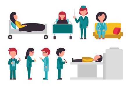 Personal médico plana, aislada en fondo blanco, doctor, enfermera, cuidado, Ilustración Colección personas Vector, editable para su diseño gráfico