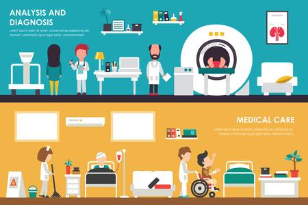 analisys: Medical Care, Analisys and Diagnostics flat hospital interior concept web vector illustration. MRI, Healthcare, Research, Medicine service presentation Illustration