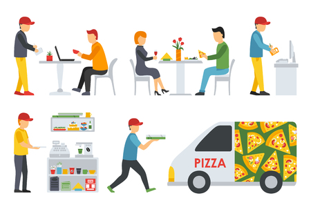 deliveryman: Pizzeria icons set. People in a flat interior. Cashier, Deliveryman, Customers, Bistro, Waiters, Delivery, Car. Pizza conceptual web vector illustration.