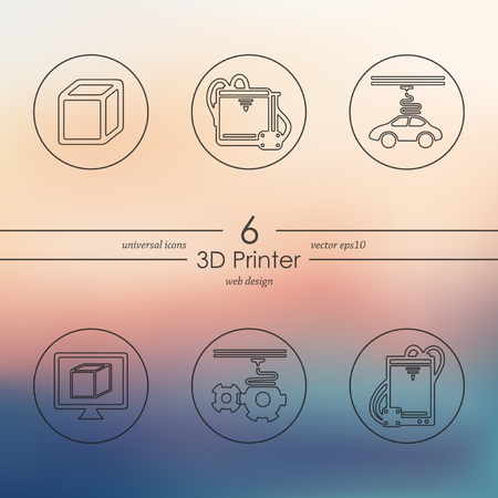 three d: three d printer modern icons for mobile interface on blurred background Illustration