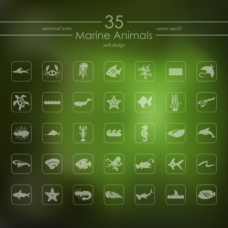 lionfish: marine animals modern icons for mobile interface on blurred background Illustration