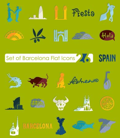 barcelona: Set of Barcelona flat icons for Web and Mobile Applications