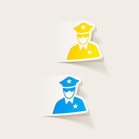 gorra policía: realistic design element. police officer Vectores