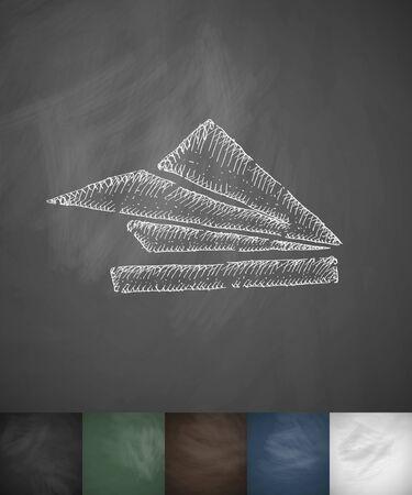 land development: flight land icon. Hand drawn vector illustration. Chalkboard Design
