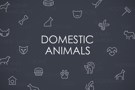 barking: Thin Stroke Line Icons of Domestic Animals on White Background Illustration