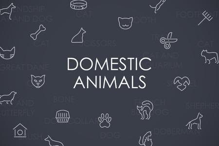 Thin Stroke Line Icons of Domestic Animals on White Background Ilustração