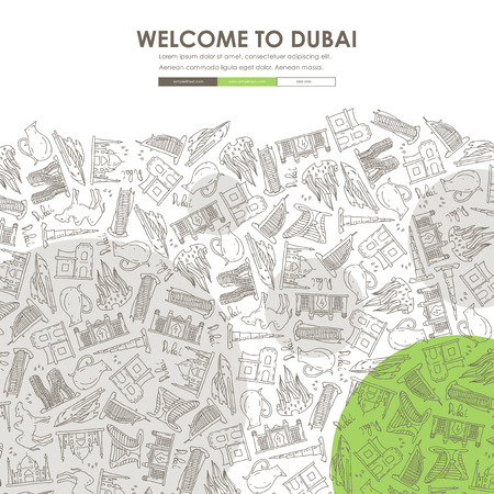 united arab emirate: Dubai Website Template Design with Doodle Background
