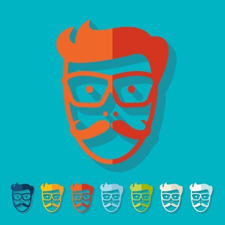 egghead: Flat design: face male Illustration