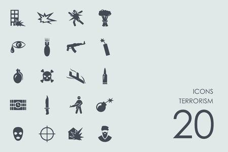 terrorism: terrorism vector set of modern simple icons