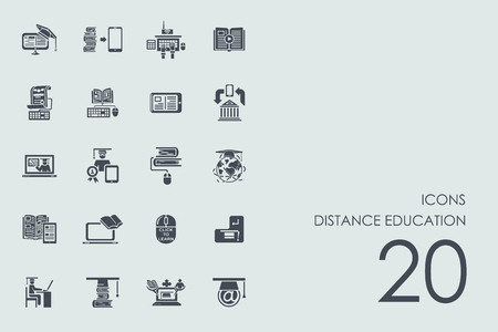 distance learning: distance learning vector set of modern simple icons