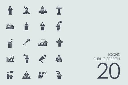 openbare toespraak vector set van de moderne eenvoudige pictogrammen
