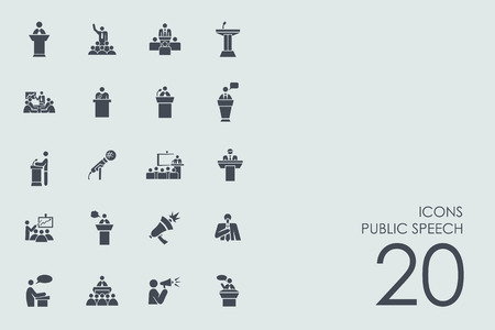 congress center: public speech vector set of modern simple icons Illustration