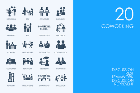 BLUE HAMSTER Library coworking vector set of modern simple icons Illustration