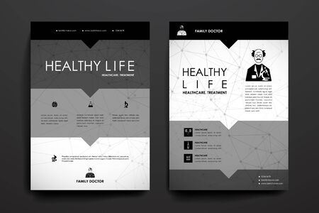 alternating organic: Set of brochure, poster templates in healthcare style. Beautiful design and layout Illustration