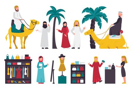 united arab emirate: Dubai flat set. Isolated On White Background, People Vector Illustration. Graphic Editable For Your Design