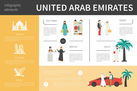 emirates: United Arab Emirates infographic flat vector illustration. Editable Presentation Concept