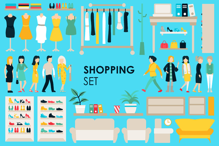 clothing rack: Shopping Big Collection in flat design background concept. Infographic Elements Set With Mall Staff Clothes And Furniture People Interior Objects